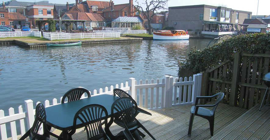 Anchor Cottage riverside decking - perfect for lazing by the river