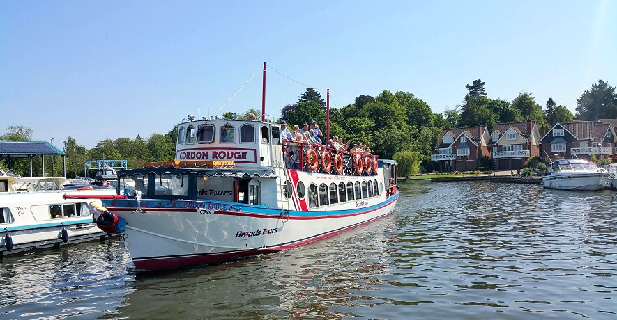 Take a scenic boat trip along the Norfolk Broads starting a short stroll away from Wroxham Cottages